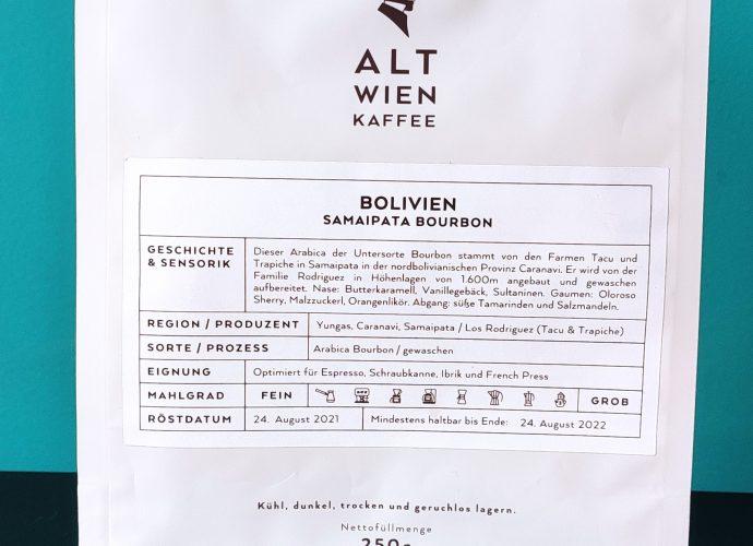 Alt Wien Kaffee Samaipata Bourbon package